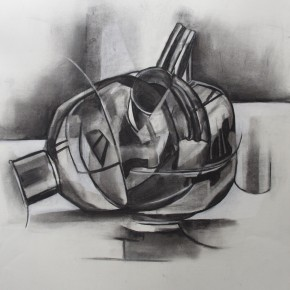 Ellen Hausner Painter Oxford Cubist drawing (charcoal on paper), 2012
