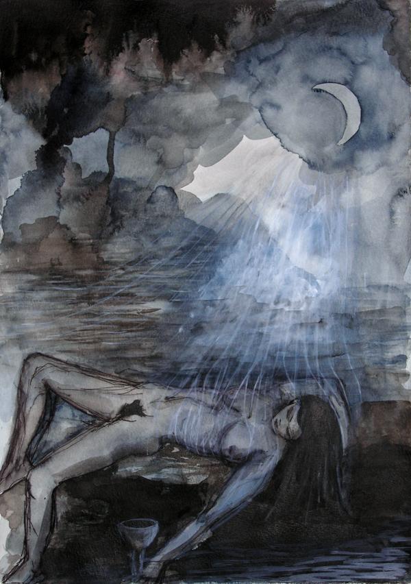 Ellen Hausner Painter Oxford Luna (watercolor, ink, and acrylic on paper), 2009