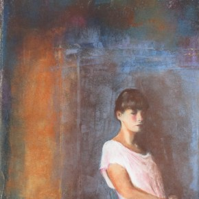 Ellen Hausner Painter Oxford Marie Alone (pastel and collage on paper), 2012