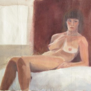 Ellen Hausner Painter Oxford Nude portrait of Marie (oil on unstretched canvas), 2012