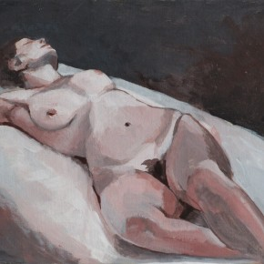 Ellen Hausner Painter Oxford Oblique nude portrait (acrylic on board), 2012
