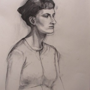 Ellen Hausner Painter Oxford Portrait of Agneska (charcoal on paper), 2011