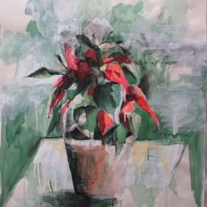 Ellen Hausner Painter Oxford Still Life with Flowers (mixed media on paper), 2012