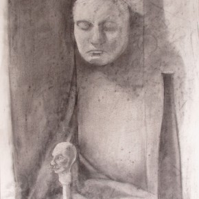 Ellen Hausner Painter Oxford Still Life with Heads (charcoal on paper), 2012