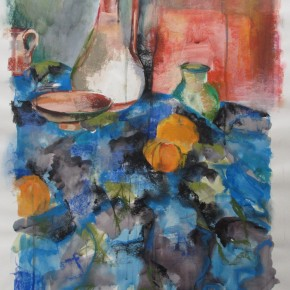 Ellen Hausner Painter Oxford Still Life with Jug (pastel, watercolor, charcoal on paper), 2012