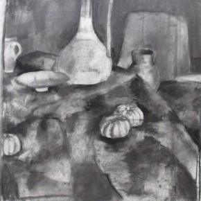 Ellen Hausner Painter Oxford Study for Still Life with Flowers (charcoal on paper), 2012