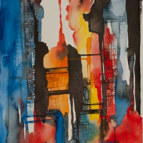 Ellen Hausner Painter Oxford Tower III (watercolour and ink), 2013