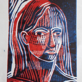 Ellen Hausner Painter Oxford Portrait (Lino cut), 2012