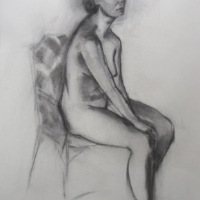 Ellen Hausner Painter Oxford Sketch of nude (charcoal on paper), 2012