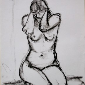 Ellen Hausner Painter Oxford Model squatting (charcoal on paper), 2009