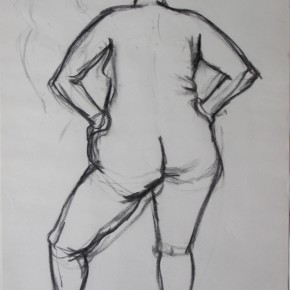 Ellen Hausner Painter Oxford Model back view (charcoal on paper), 2009