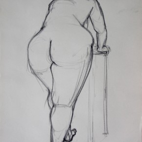 Ellen Hausner Painter Oxford Model leaning (charcoal on paper), 2009