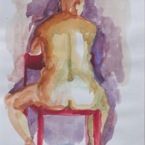 Ellen Hausner Painter Oxford Model sitting, back view (watercolour on paper), 2009