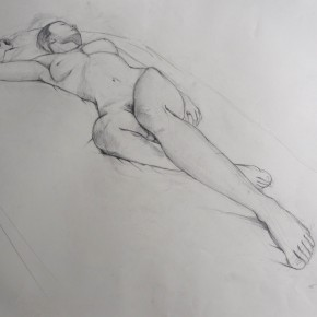 Ellen Hausner Painter Oxford Study for Oblique nude portrait (graphite on paper), 2012
