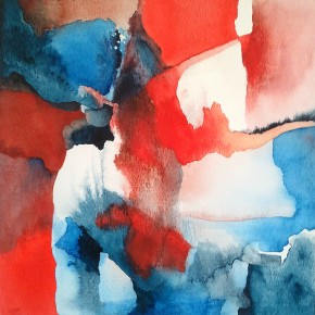 Ellen Hausner Painter Oxford Untitled I (blue and red series) (watercolour and ink on paper), 2015