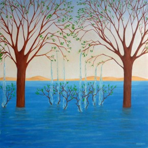 Ellen Hausner Painter Oxford Water Trees II (oil on paper), 2004