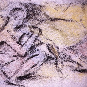 Ellen Hausner painter Untitled (Art Student's League series) (charcoal and pastel on paper), 1999