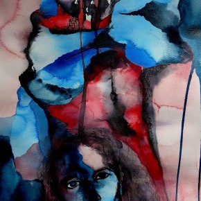 Ellen Hausner Painter Oxford Portrait (blue and red series), (watercolour, ink, and pen on paper), 2016