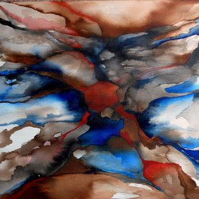 Ellen Hausner Oxford Untitled XII (blue and red series), (watercolour, ink, and pen on paper), 2016