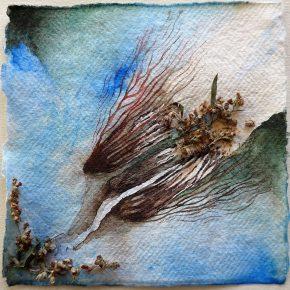 Ellen Hausner Painter Oxford Artemisia vulgaris (ink, pen, watercolour, and collage on handmade paper), 2017