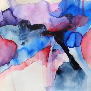Ellen Hausner Painter Oxford Untitled XV (blue and red series), (ink, pen, and watercolour on paper), 2016