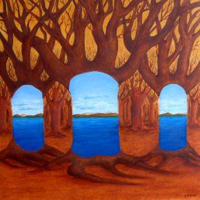 Ellen Hausner Painter Oxford World within a World III (oil on paper), 2004